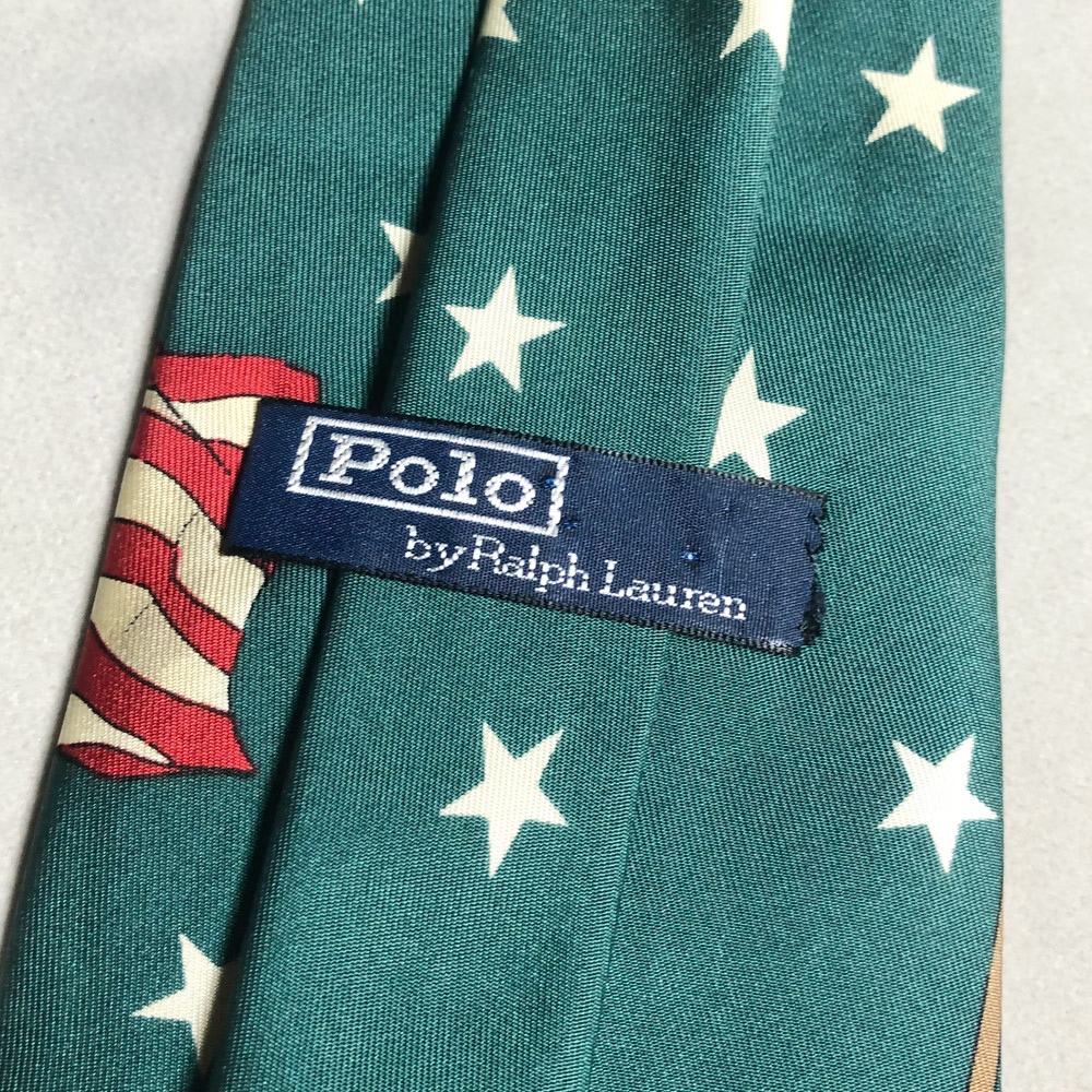 USA製 POLO Ralph Lauren STAR FLAG 星 国旗 TIE ネクタイ ポロ ラルフローレン MADE IN USA アメリカ製 VINTAGE ヴィンテージ 90年代 レア_画像4
