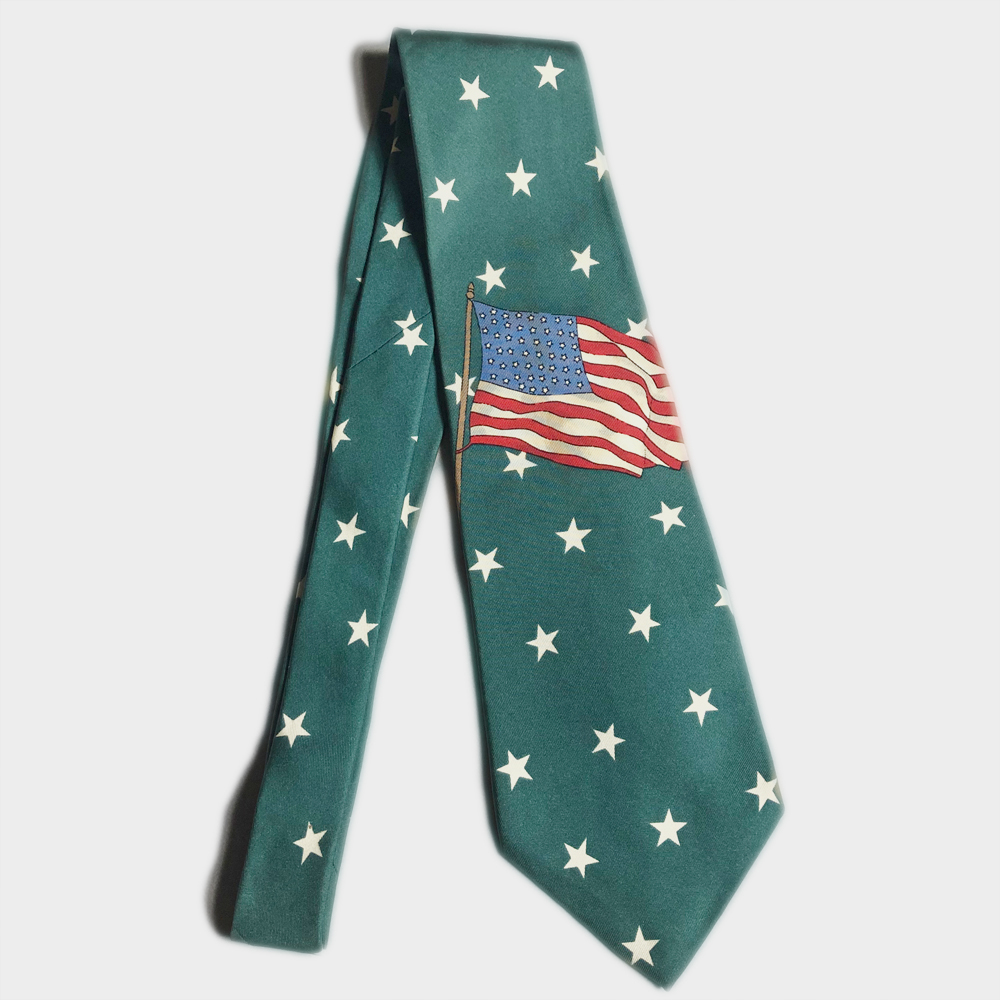 USA製 POLO Ralph Lauren STAR FLAG 星 国旗 TIE ネクタイ ポロ ラルフローレン MADE IN USA アメリカ製 VINTAGE ヴィンテージ 90年代 レア_画像1