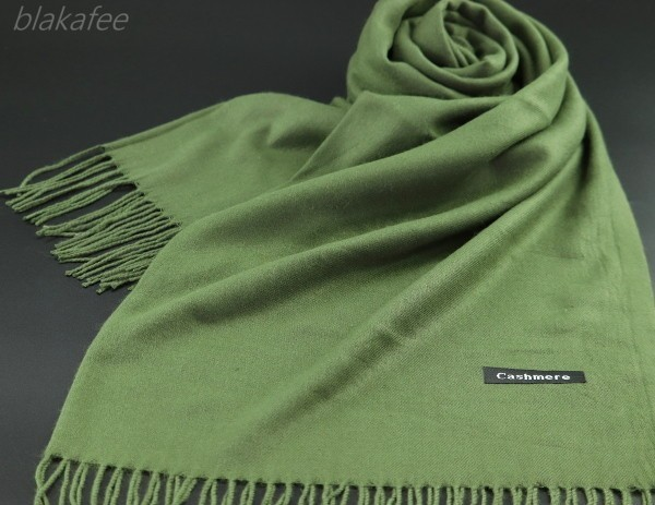 blakafee #BS-9909 極上 カシミア100%【カーキ】 無地* 大判 マフラー/ストール * High Quality Cashmere Collection*