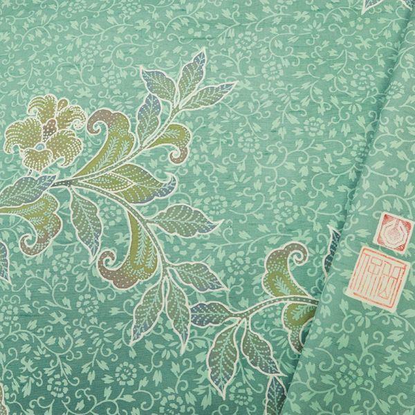 【針子】 逸品◆牛首紬 『白山工房』 訪問着◆豪華花更紗文様 緑◆角印 落款有◆袷正絹着物_画像8