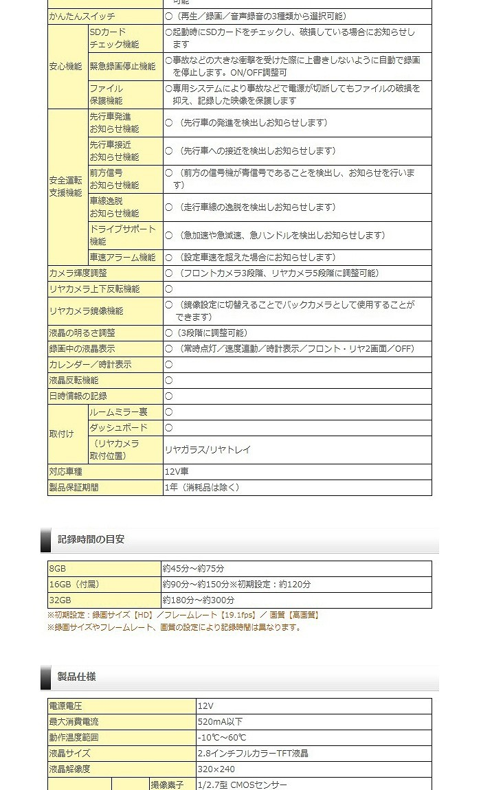 ◆【1円~2台売切】新品 未開封 未使用 送料無料 コムテック GPS搭載 COMTEC ZDR-015 ドライブレコーダー 2.8インチ液晶 前後2カメラ_画像7
