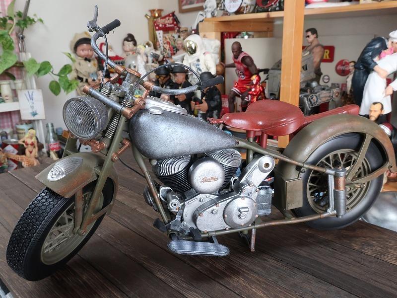 超レア★非売品★1/6 カスタム オートバイ バイク インディアン ラットロッド Rat Rod 塗装済み完成品_画像2