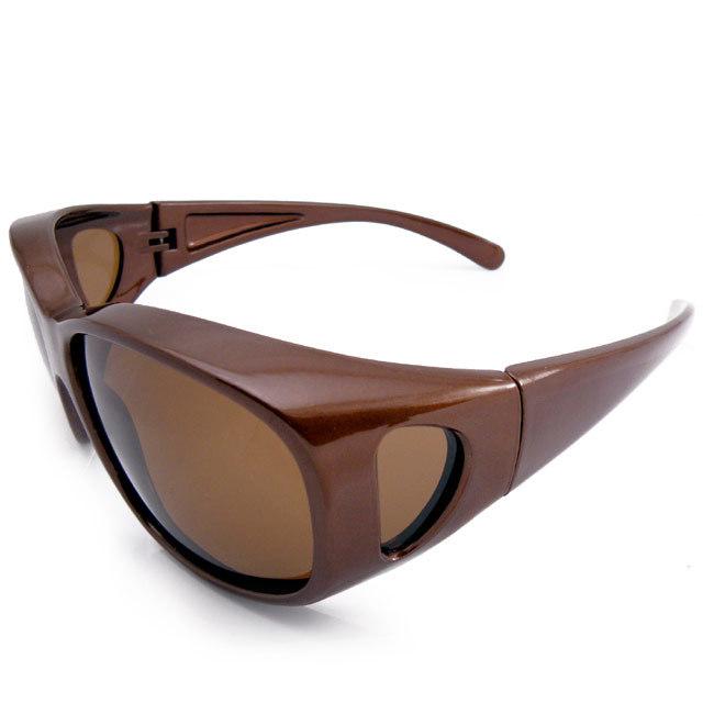 PACIFIC RIDE 偏光オーバーサングラス 釣り ゴルフに UVカット99% ブラウン 茶 パシフィックライド メガネの上から掛けられる_画像3