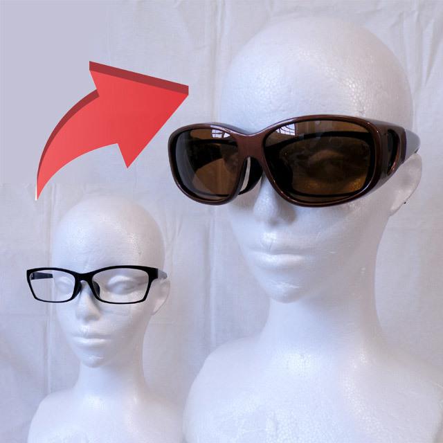 PACIFIC RIDE 偏光オーバーサングラス 釣り ゴルフに UVカット99% ブラウン 茶 パシフィックライド メガネの上から掛けられる_画像6