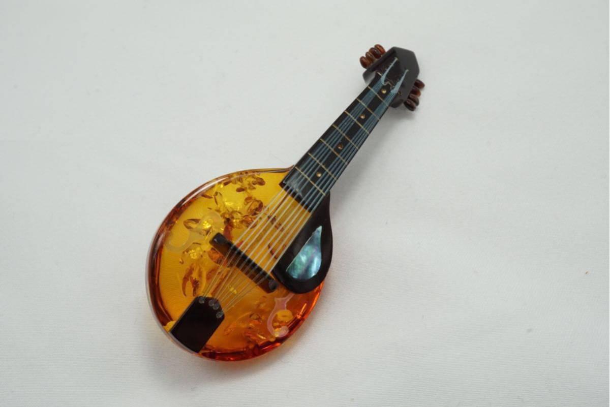 A10 本鼈甲 本琥珀 弦楽器 ヴィンテージ ブローチ アクセサリー アンティーク シェル薄れあり ベッコウ コハク