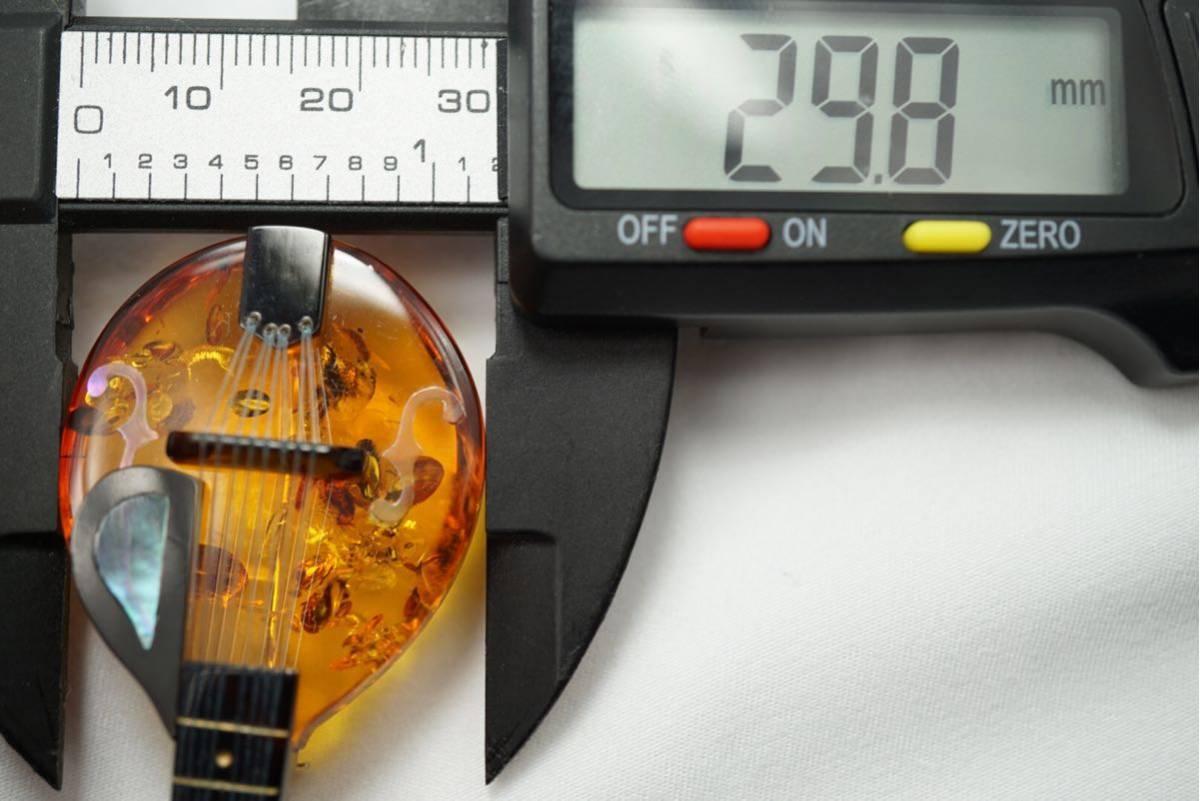 A10 本鼈甲 本琥珀 弦楽器 ヴィンテージ ブローチ アクセサリー アンティーク シェル薄れあり ベッコウ コハク_画像6