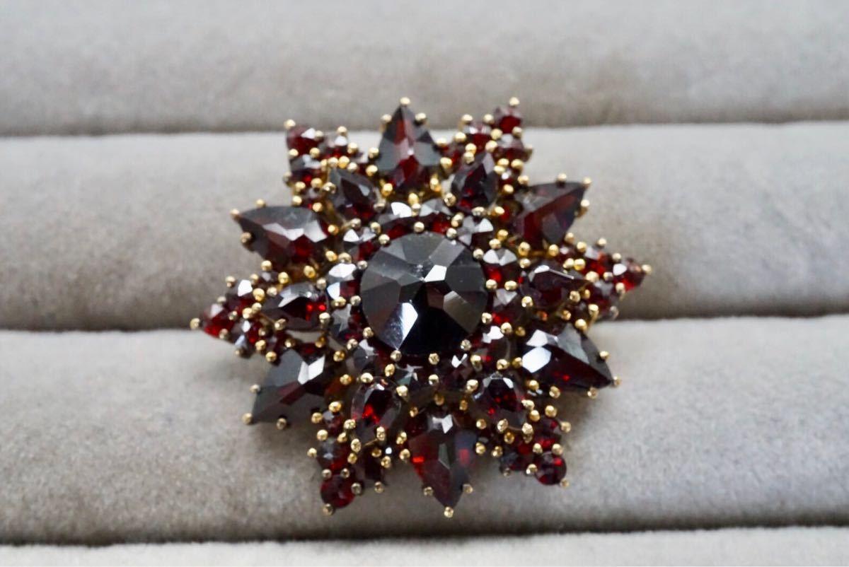 希少 ボヘミアンガーネット ヴィンテージ ブローチ アクセサリー 英国 アンティーク ビンテージ カラーストーン 色石