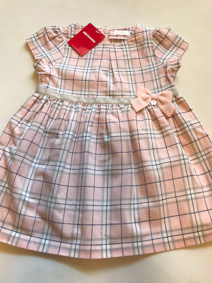ミキハウス新品90cm☆15120円ピンクのチェックワンピース