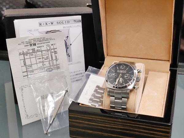極上品 RXW ROCKX サンドイッチ文字盤 プラズミール ミルグラフ 3カウンター クロノ メンズウォッチ 男性用腕時計 箱 保証書付 本物 正規_画像9