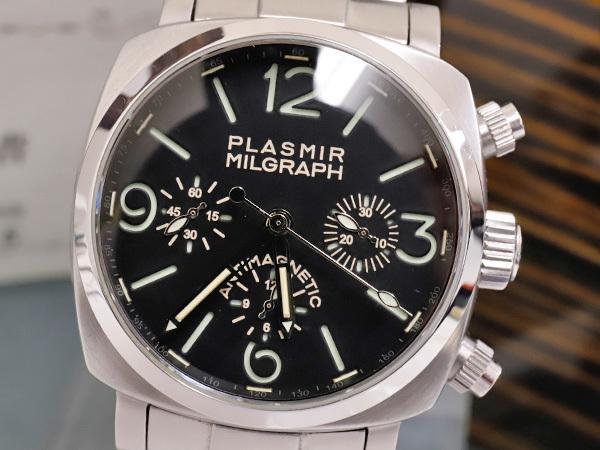 極上品 RXW ROCKX サンドイッチ文字盤 プラズミール ミルグラフ 3カウンター クロノ メンズウォッチ 男性用腕時計 箱 保証書付 本物 正規