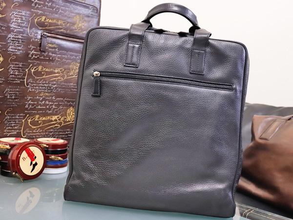 美品 ダンヒル DUNHILL 最高級シュリンクレザー縦型メンズ書類ビジネスバッグ 黒 ブラック ブリーフケース トートバッグ 本物 正規_画像2