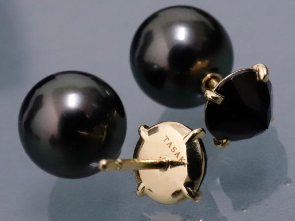 極上品 田崎真珠 最新作 リファインド リベリオン シグネチャー ピアス K18 ブラックパール×ブラックスピネル 箱 保証書付 本物 正規_画像3