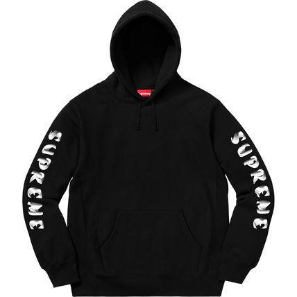 正規品 2018AW シュプリーム プルオーバーパーカー 袖ロゴフーディーSupreme Gradient Sleeve Hooded Sweatshirt Black 黒 M■L21398AWS19_画像3