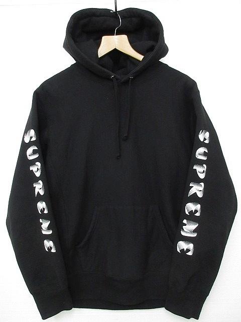 正規品 2018AW シュプリーム プルオーバーパーカー 袖ロゴフーディーSupreme Gradient Sleeve Hooded Sweatshirt Black 黒 M■L21398AWS19_画像1