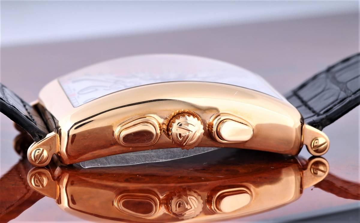 新品 フランク・ミュラー ロングアイランド クロノグラフ 1200CC AT 自動巻き シルバー文字盤 メンズ ピンクゴールド 定価424万円_画像5
