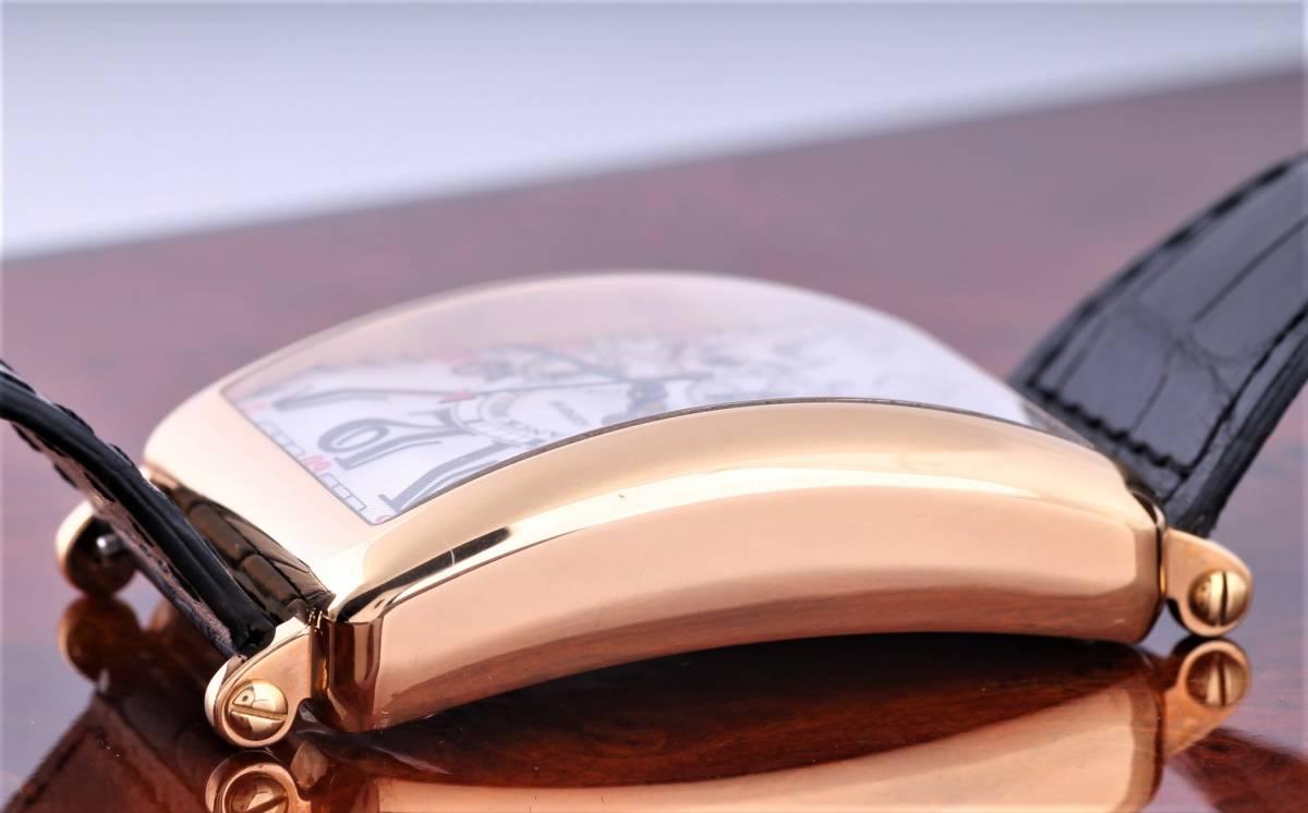 新品 フランク・ミュラー ロングアイランド クロノグラフ 1200CC AT 自動巻き シルバー文字盤 メンズ ピンクゴールド 定価424万円_画像6