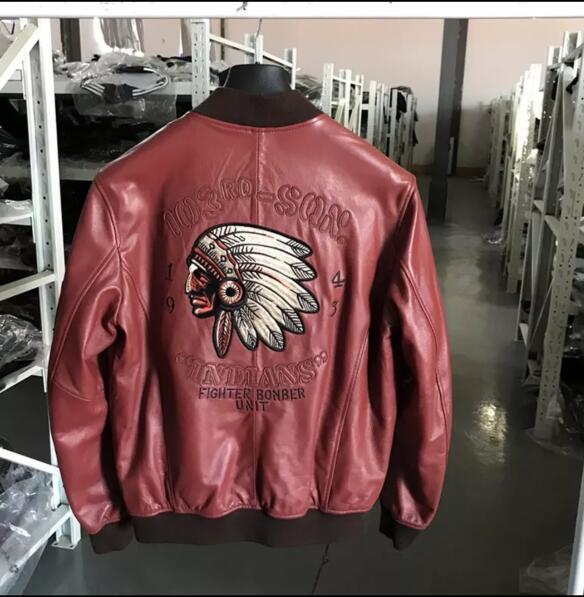 ♪*最上級羊革100%豪華刺繍 天然皮革◆ライダース/ジャケット/ブルゾン 赤 サイズ選択可 ♪♪_画像3