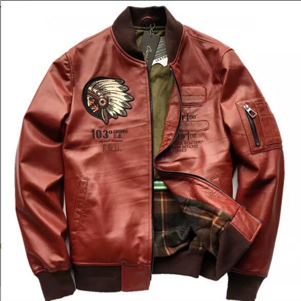 ♪*最上級羊革100%豪華刺繍 天然皮革◆ライダース/ジャケット/ブルゾン 赤 サイズ選択可 ♪♪