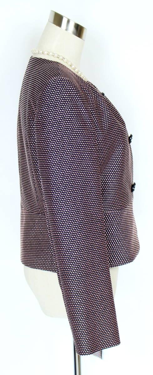 新品 42 13号 ウンガロ 絹100% ジャケット ピンク×黒 パーティー お食事会 お呼ばれ レディース セットアップに 軽い 日本製_画像5