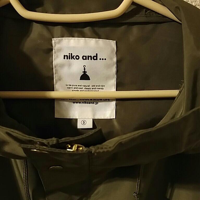 ニコアンド マウンテンパーカー 薄手ジャケット スプリングコート カーキ色 サイズ3 美品_画像2