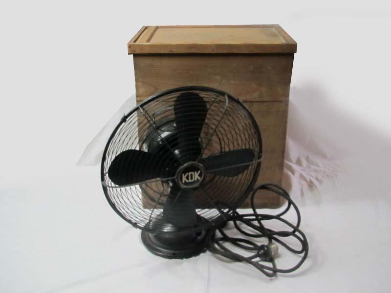 ■鉄製の古い扇風機 川北電機製作所製 時代箱入り 動作未確認