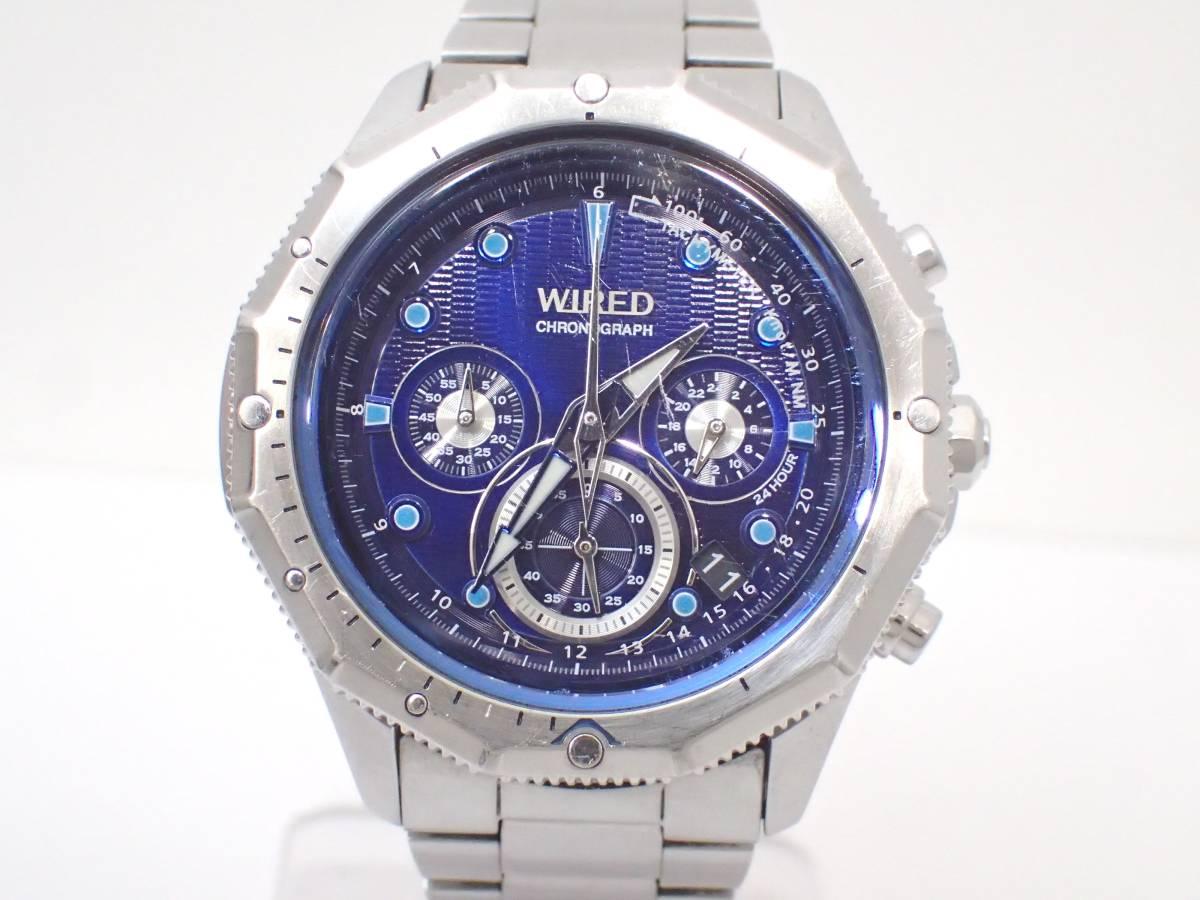 SEIKOセイコー/WIREDワイアード/VK63-K080/クロノグラフ/メンズ腕時計/ブルー文字盤[T]