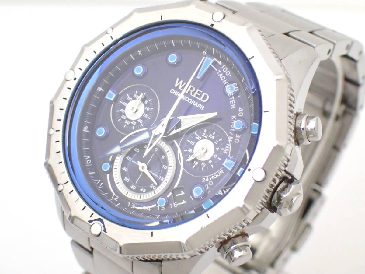 SEIKOセイコー/WIREDワイアード/VK63-K080/クロノグラフ/メンズ腕時計/ブルー文字盤[T]_画像3