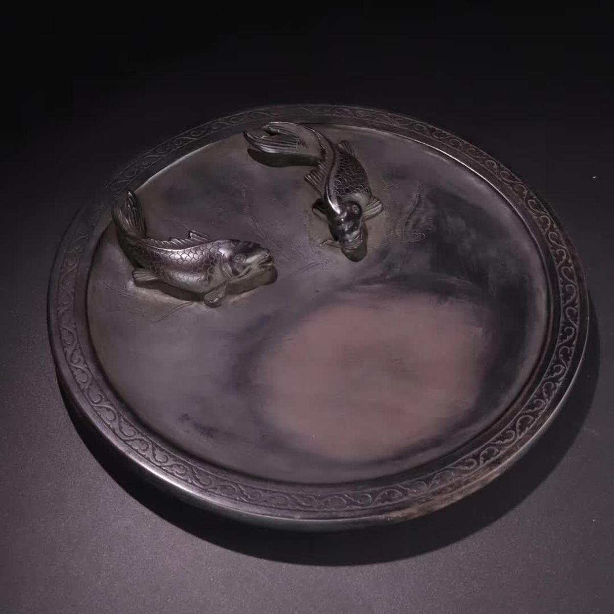 『端石「年年有余」文房硯』中国古董品 賞物 置物擺件 直径22cm 重さ1300g【B】