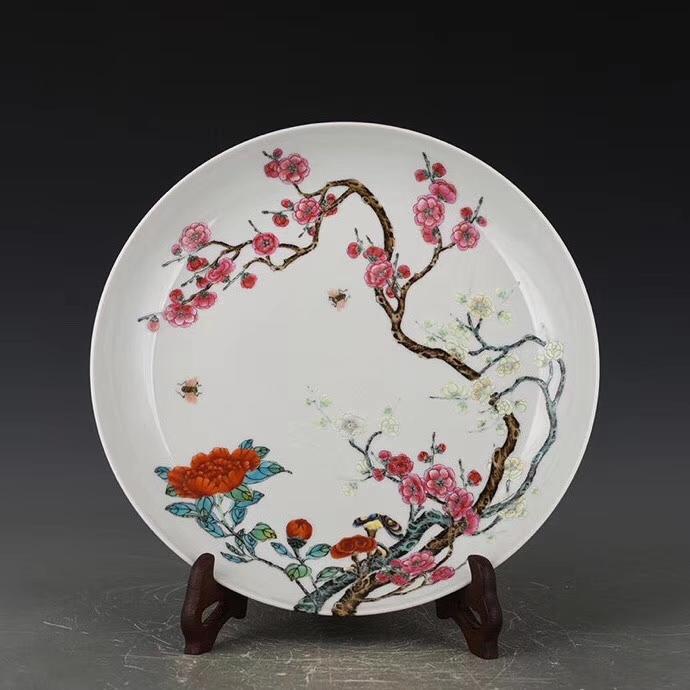 雍正琺瑯彩過枝花卉紋盤』中国古董品の情報