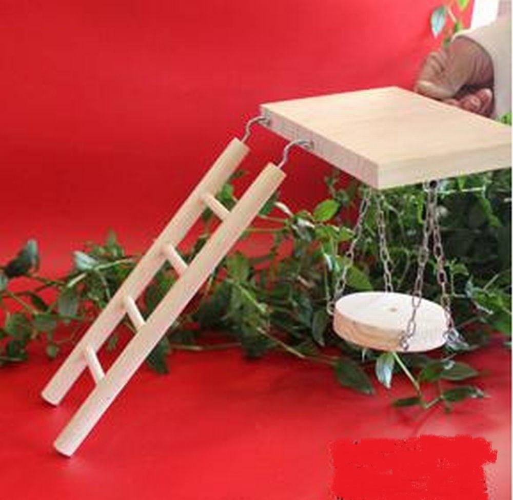 【送料510円】はしご ブランコ お立ち台 小動物 小鳥 ハムスター ケージ _はしごとブランコと台のセットです。