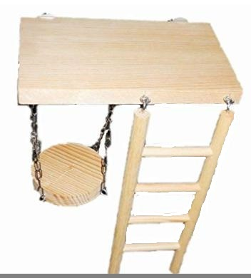 【送料510円】はしご ブランコ お立ち台 小動物 小鳥 ハムスター ケージ _台の長辺にはしごを引っかけます
