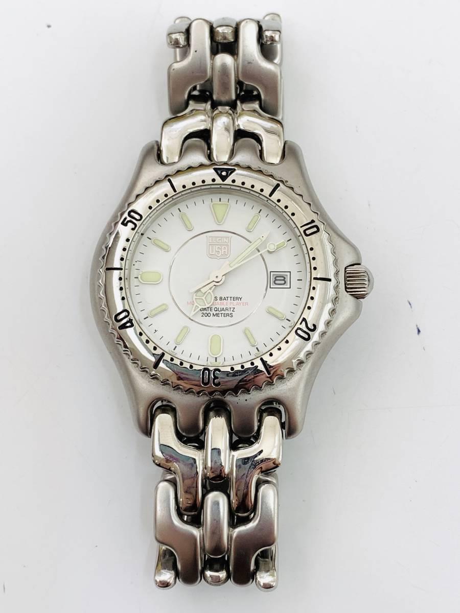 1907 480円~ 中古品 ELGIN/エルジン FK-664-A クォーツ メンズ 腕時計_画像2