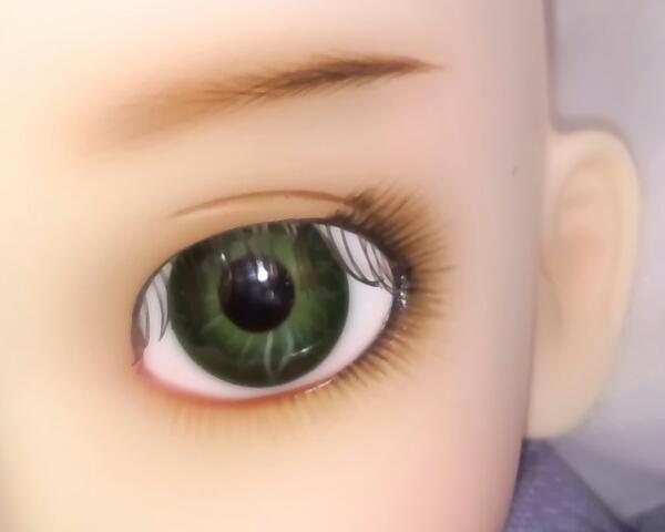 ワンオフMSD女の子すわりっこ限定なぎさ◆特注ウィッグリボン三つ編みカチューシャ造形村グラスアイ濃緑16mmボークスmayura様メイクヘッド_瞳眉アップ。