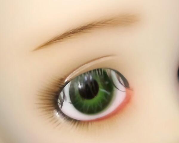 ワンオフMSD女の子すわりっこ限定なぎさ◆特注ウィッグリボン三つ編みカチューシャ造形村グラスアイ濃緑16mmボークスmayura様メイクヘッド_瞳眉アップ2.馴染みの良い色のアイラッシュ