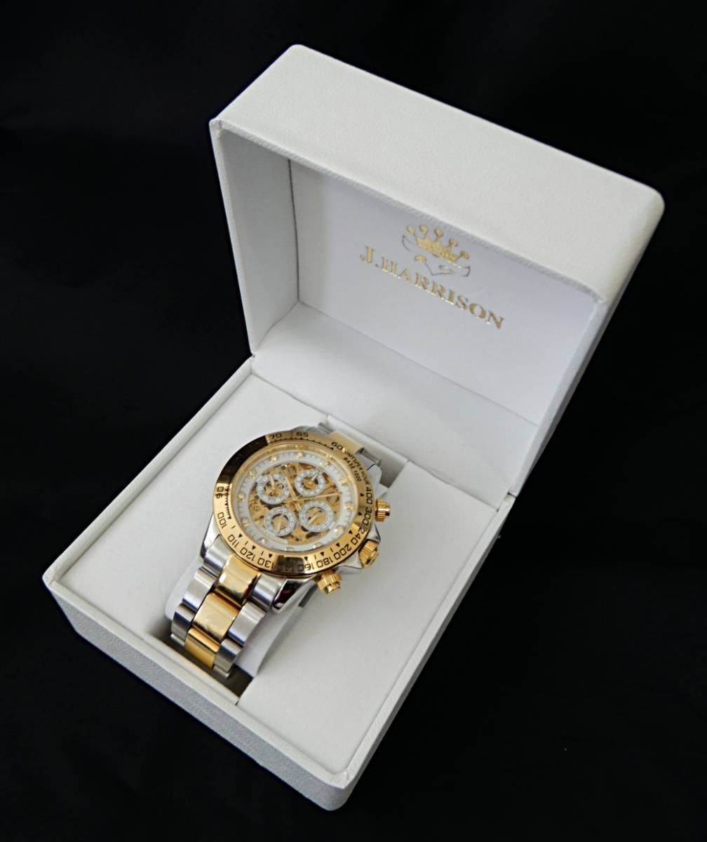 【USED品★1円~】 J.HARRISON / ジョンハリソン J.H-003C 自動巻き 両面スケルトン 腕時計_画像2