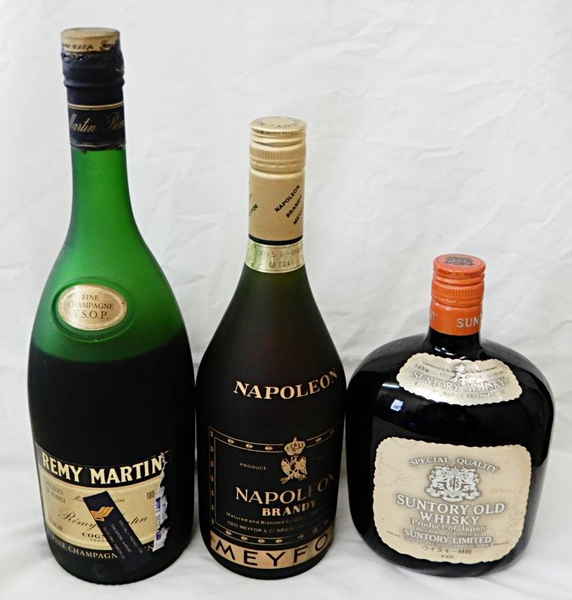 【古酒ボトル】 レミーマルタン V.S.O.P. 1000ml + メイフォー ナポレオン 700ml + サントリー オールド ウィスキー 760ml 未開栓品