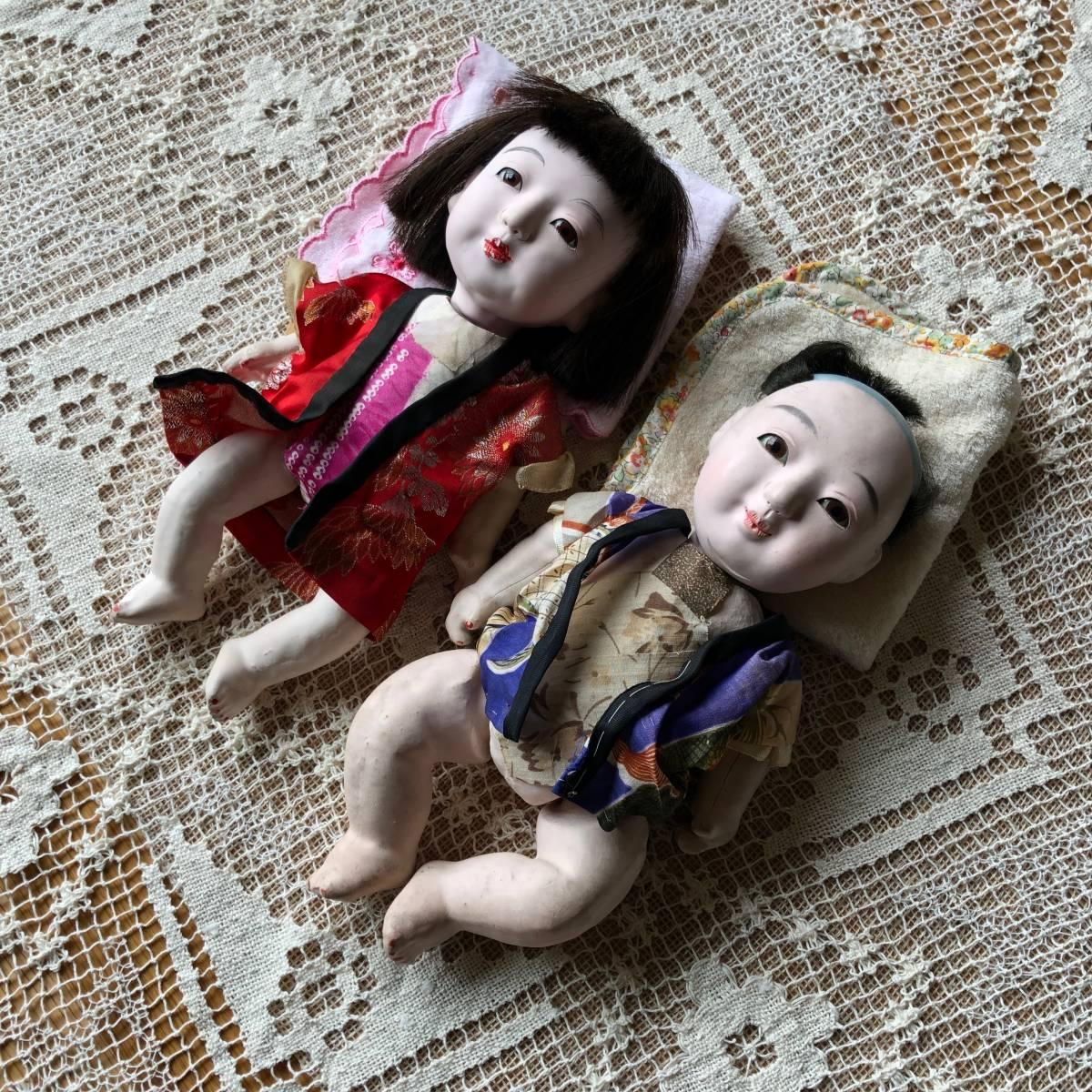 時代物 日本人形 2体セット☆ 男の子 女の子 29cm 26cm 羽織り丁髷おかっぱ 大正昭和初期戦前 古い抱き人形 アンティーク 骨董 当時物