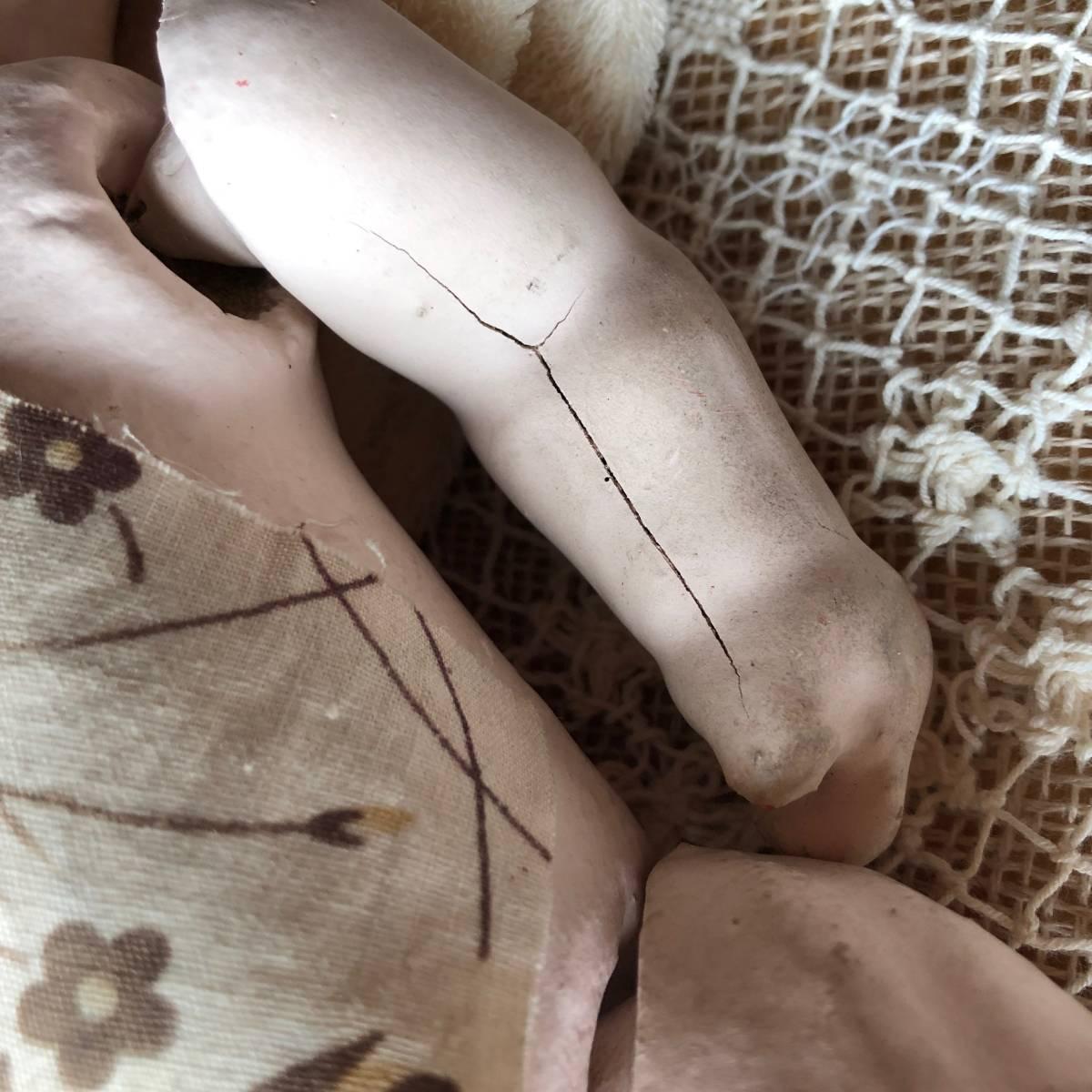 時代物 日本人形 2体セット☆ 男の子 女の子 29cm 26cm 羽織り丁髷おかっぱ 大正昭和初期戦前 古い抱き人形 アンティーク 骨董 当時物_画像7