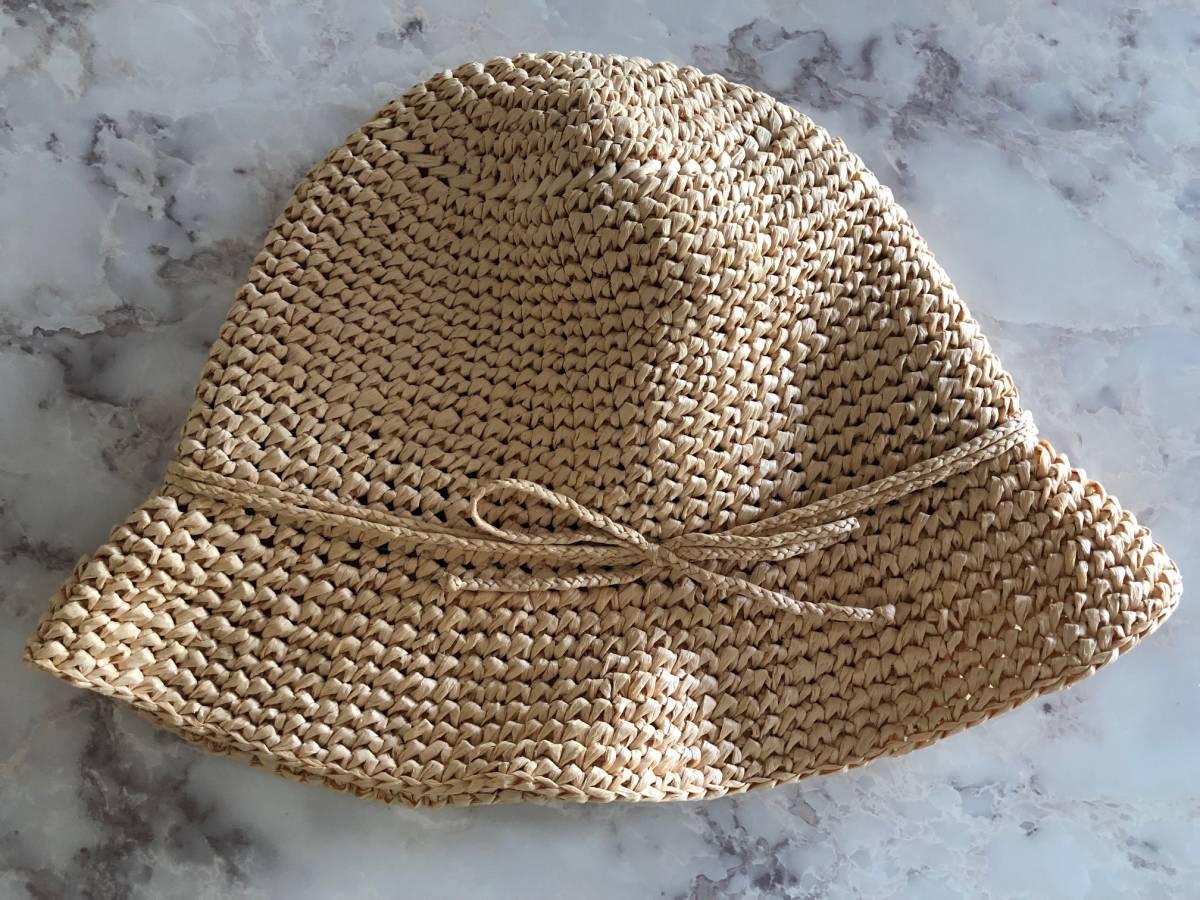 即決有! 無印良品 ラフィア ハット 折りたたみ可 麦わら帽子 ナチュラル ベージュ クリックポストで発送185円 ストローハット