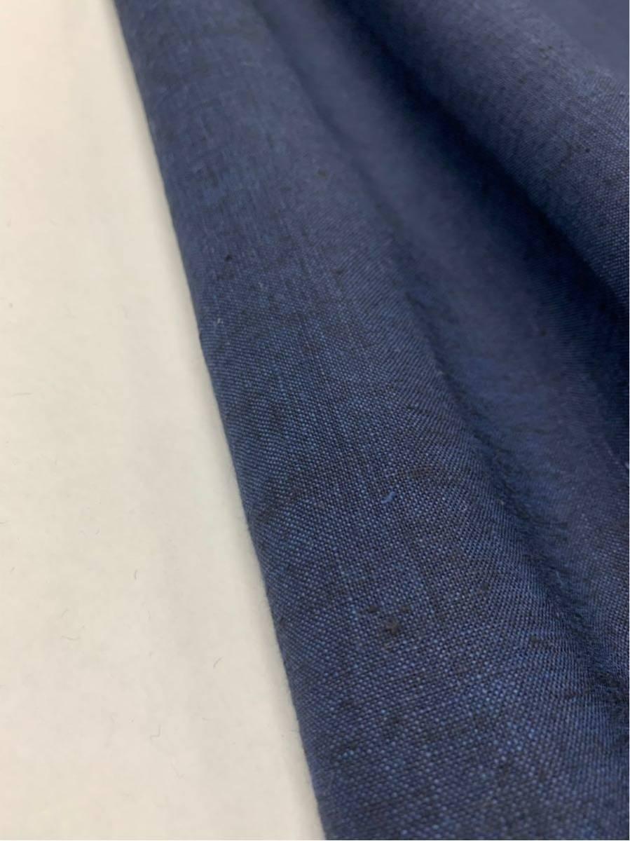 リネン シャンブレー ネイビー系 生地 高級 麻 シャツ ハンドメイド 手芸用 布 無地 4m 手芸 洋裁