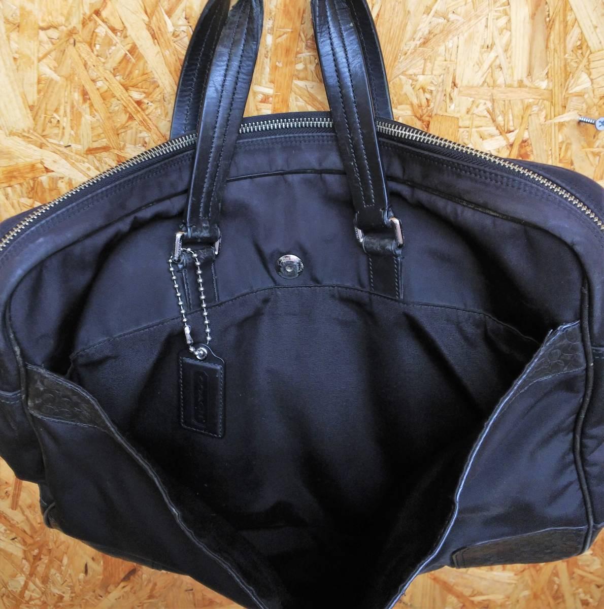 COACH/コーチ ミニシグネチャー ビジネスバッグ ブリーフケース ハンドバッグ ブラック ナイロン レザー メンズ F70596_画像5