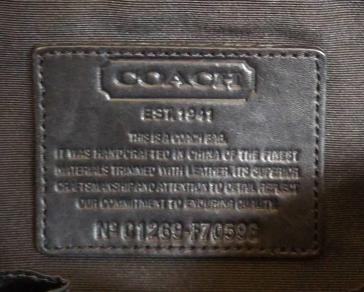 COACH/コーチ ミニシグネチャー ビジネスバッグ ブリーフケース ハンドバッグ ブラック ナイロン レザー メンズ F70596_画像4