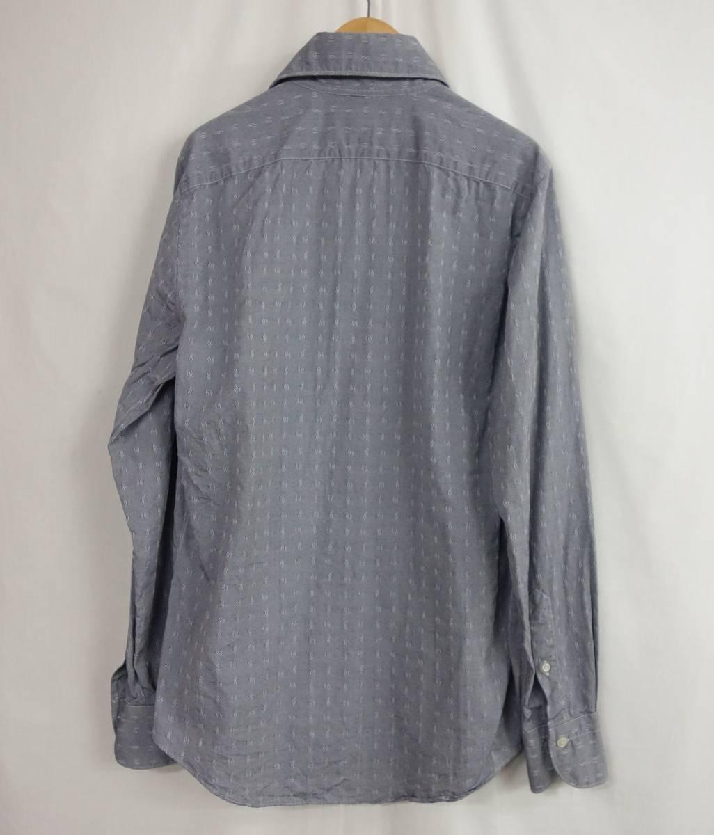 美品 Finamore フィナモレ ホリゾンタルカラー 織り柄 カッタウェイシャツ グレー 39 メンズ M位 春物 イタリア製_画像3