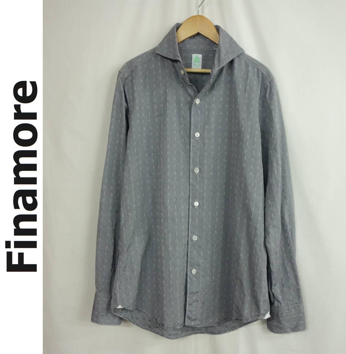 美品 Finamore フィナモレ ホリゾンタルカラー 織り柄 カッタウェイシャツ グレー 39 メンズ M位 春物 イタリア製