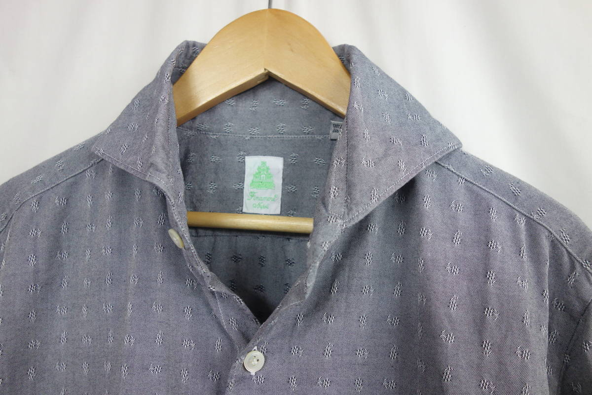 美品 Finamore フィナモレ ホリゾンタルカラー 織り柄 カッタウェイシャツ グレー 39 メンズ M位 春物 イタリア製_画像2