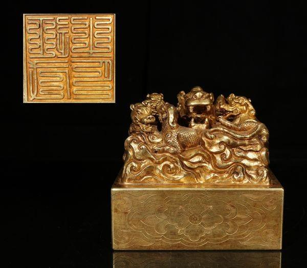 古董品 印章 唐物 中国古美術 清時代 龍生九子 九子環繞 九龍至尊印章 乾隆御用 古銅製 塗金 置物 擺件 賞物 精美品