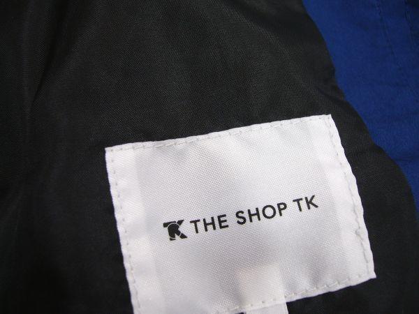 新品★ 春物 タケオキクチ THE SHOP TK 比翼 スプリングコート L ブルー ステンカラーコート タイプライター メンズ_画像6