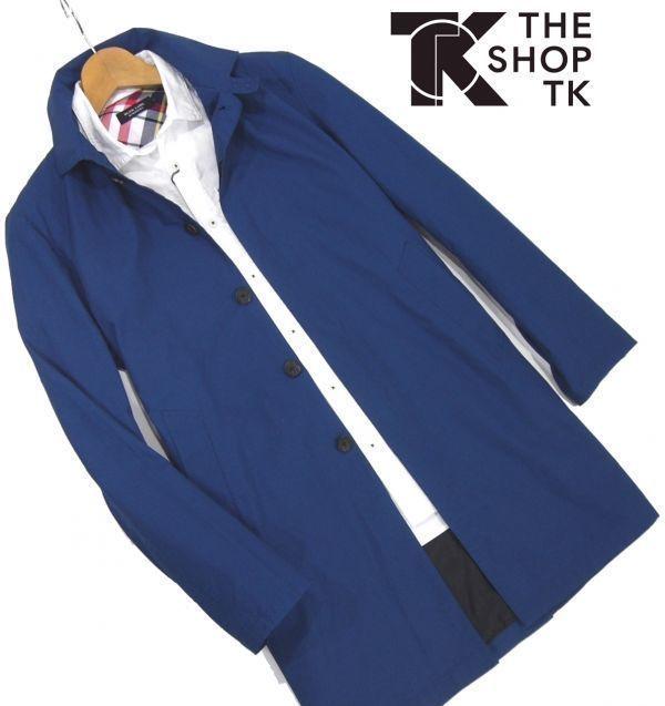 新品★ 春物 タケオキクチ THE SHOP TK 比翼 スプリングコート L ブルー ステンカラーコート タイプライター メンズ