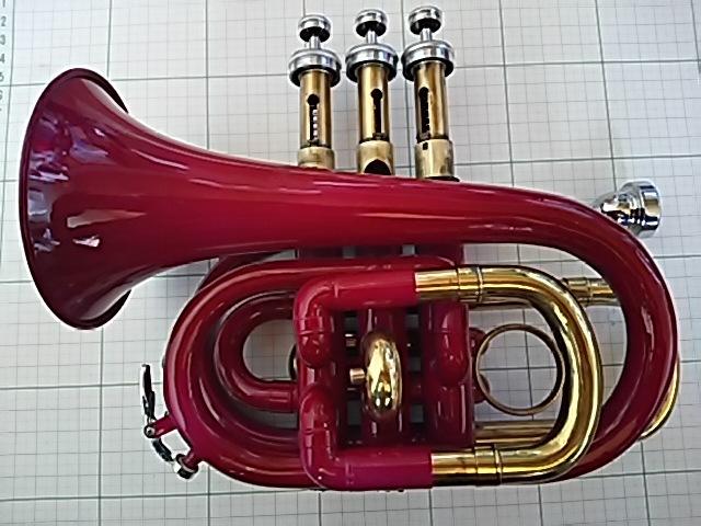 【中古】ポケットトランペット 赤紫色 YUE MING 付属マウスピースあり 中古ケース付き 音出せますがジャンク品扱いでお願いします。_画像6