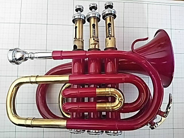 【中古】ポケットトランペット 赤紫色 YUE MING 付属マウスピースあり 中古ケース付き 音出せますがジャンク品扱いでお願いします。_画像5